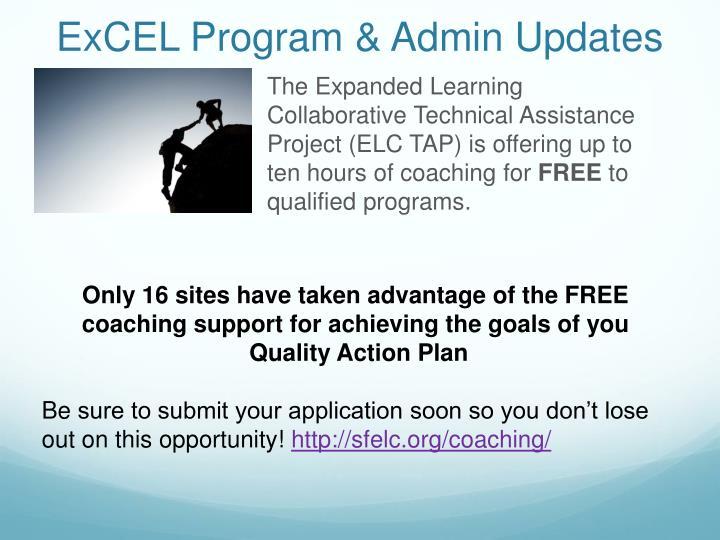 Excel program admin updates