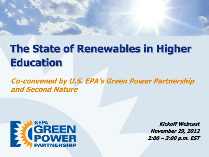 the state of renewables in higher education