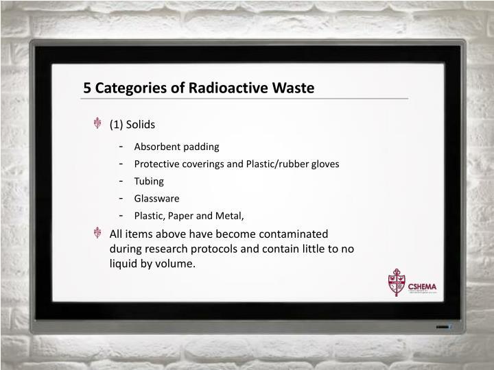 5 Categories of Radioactive Waste