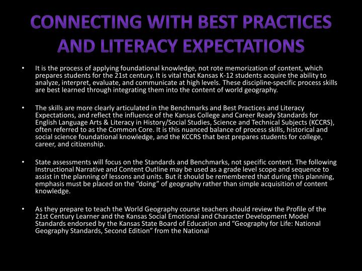 Connecting with Best Practices and Literacy Expectations