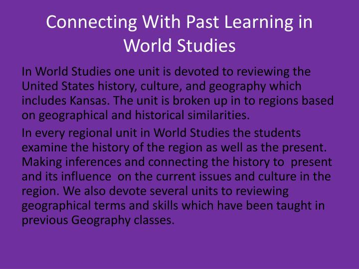 Connecting With Past Learning in World Studies