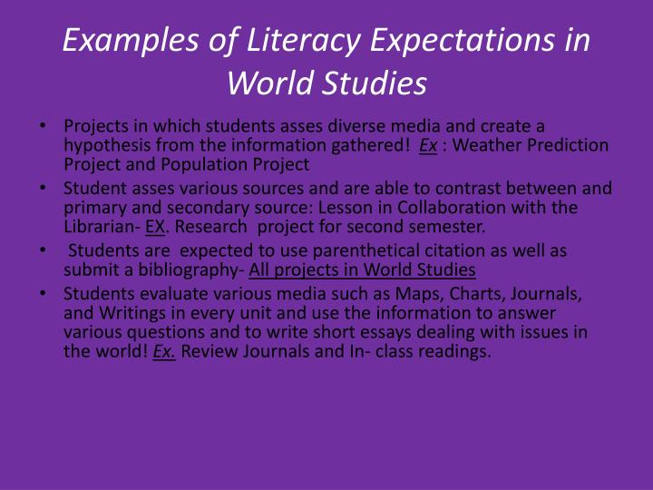 Examples of Literacy Expectations in World Studies