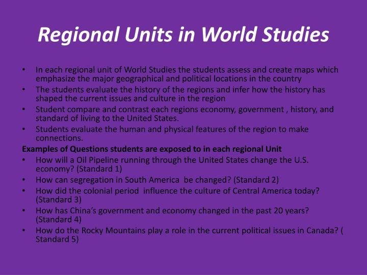 Regional Units in World Studies