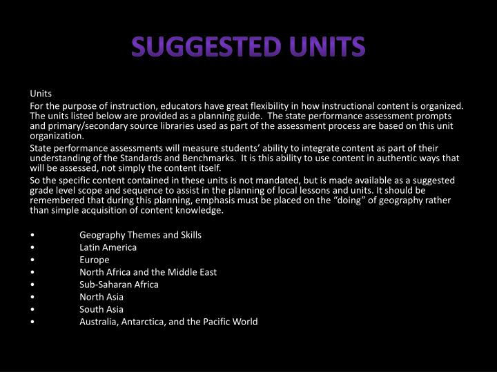 Suggested Units