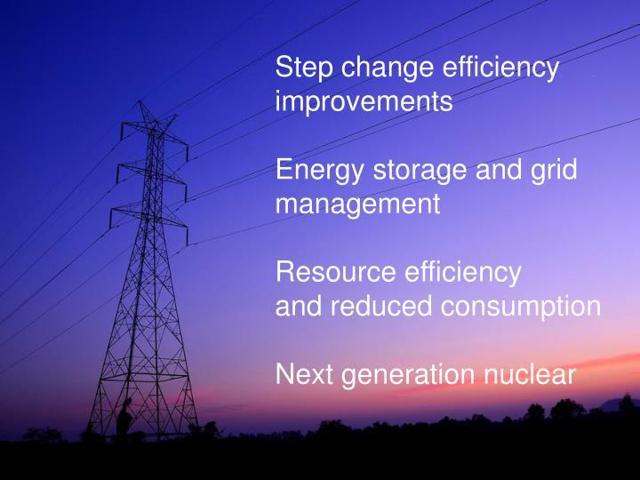 Step change efficiency improvements