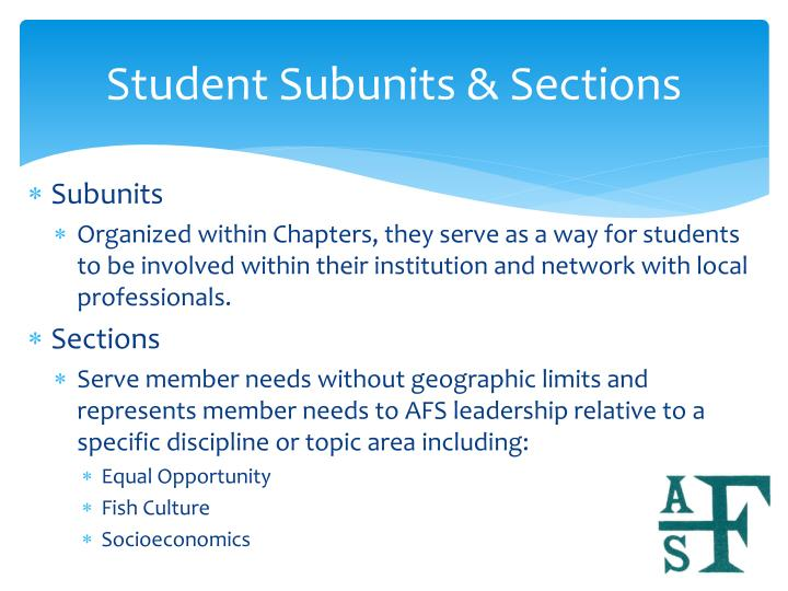 Student Subunits & Sections