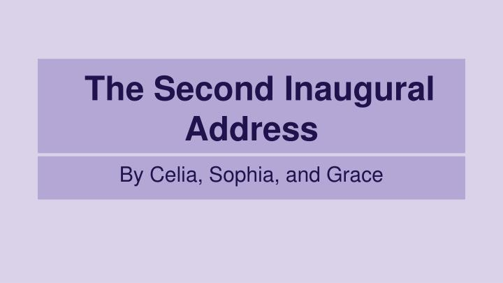 the second inaugural address n.