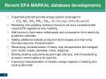 recent epa markal database developments