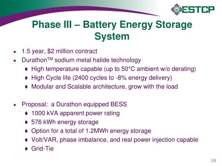 Phase III – Battery Energy Storage System
