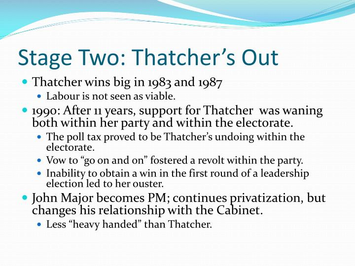 Stage Two: Thatcher's Out