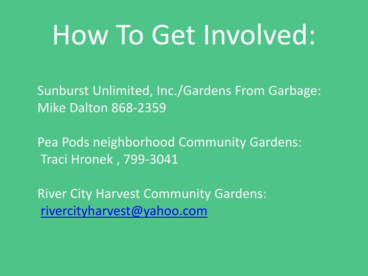 How To Get Involved: