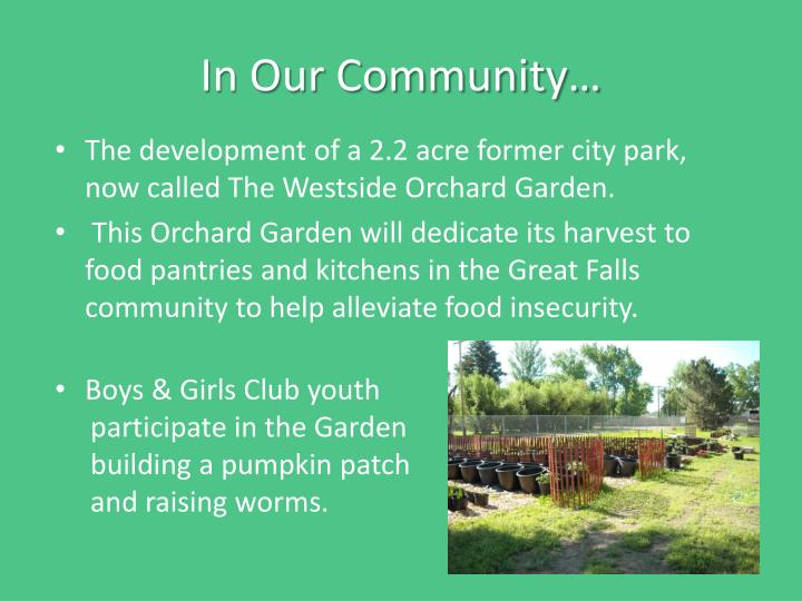 In Our Community…