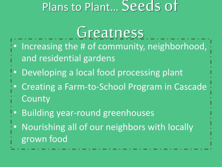 Plans to Plant…