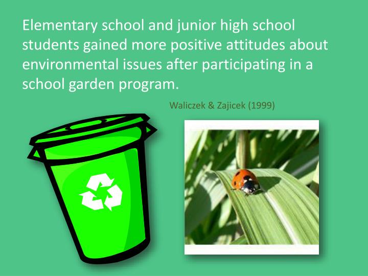 Elementary school and junior high school students gained more positive attitudes about environmental issues after participating in a school garden program.