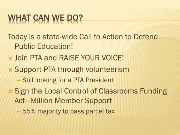 Today is a state-wide Call to Action to Defend Public Education!