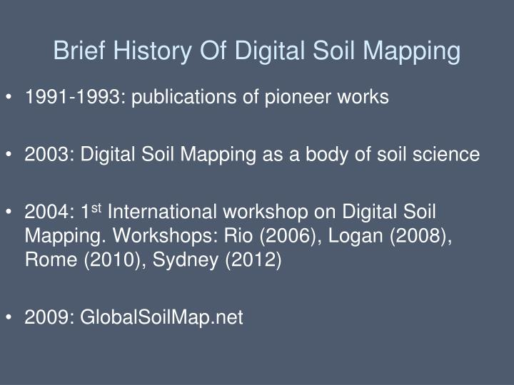 Brief History Of Digital Soil Mapping