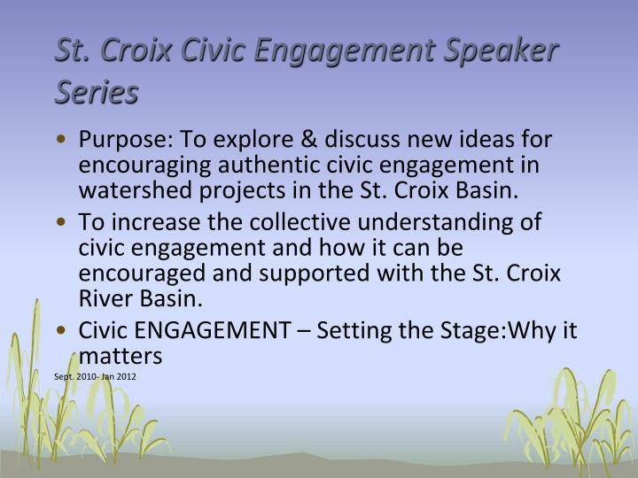 St. Croix Civic Engagement Speaker Series
