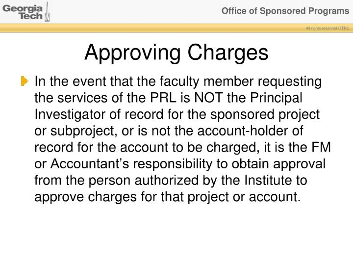 Approving Charges