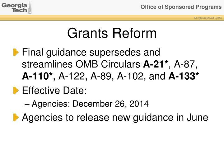 Grants Reform