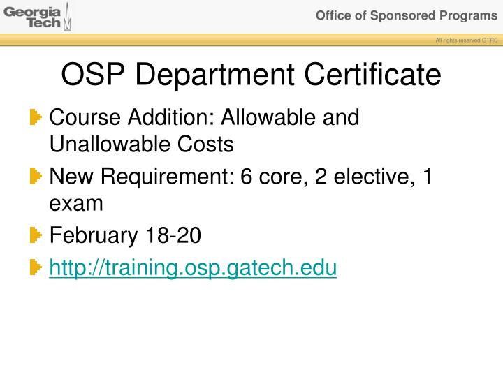 OSP Department Certificate