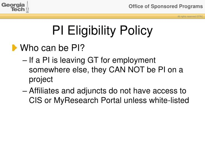 PI Eligibility Policy