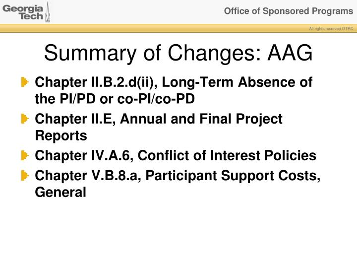 Summary of Changes: AAG