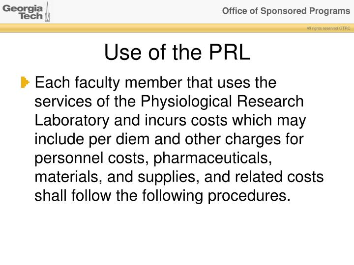 Use of the PRL
