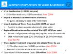summary of key actions for water sanitation