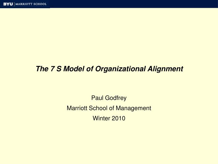 the 7 s model of organizational alignment n.