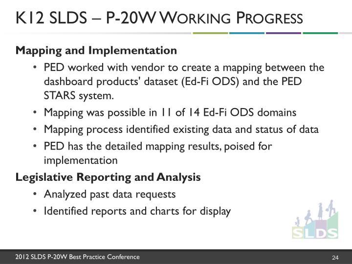K12 SLDS – P-20W Working Progress