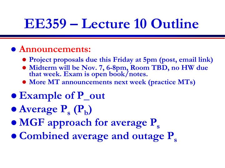 ee359 lecture 10 outline n.