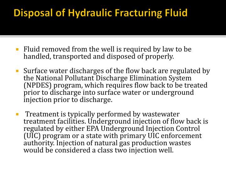Disposal of Hydraulic