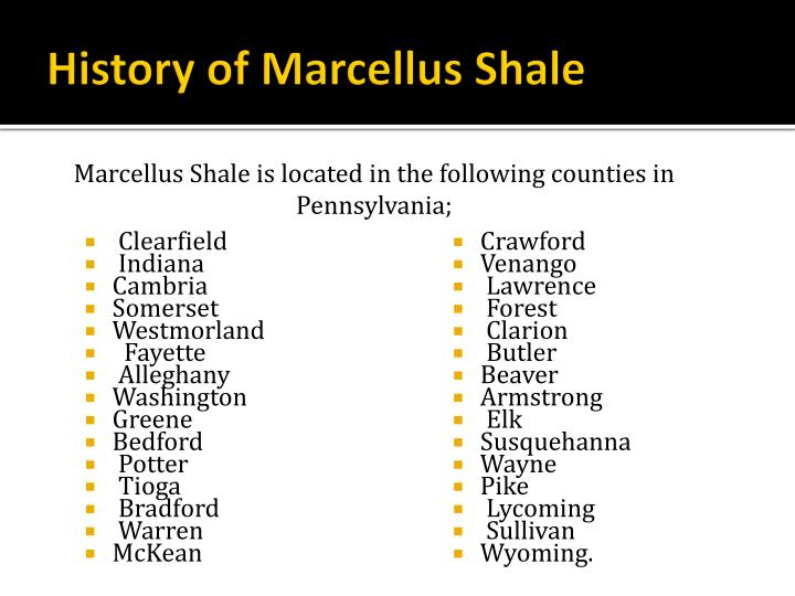History of marcellus shale
