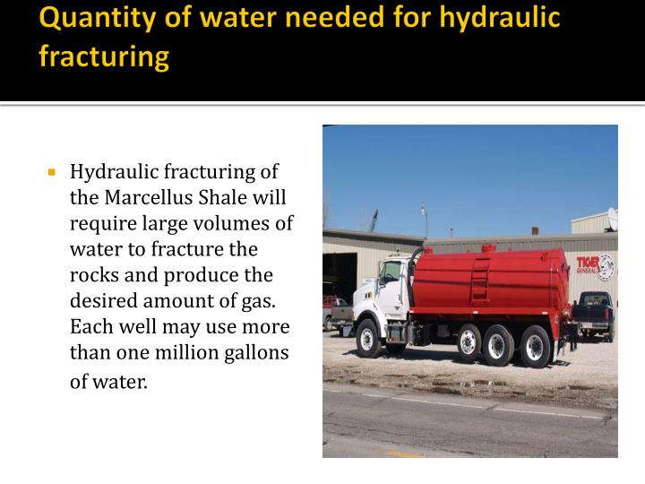 Quantity of water needed for hydraulic fracturing