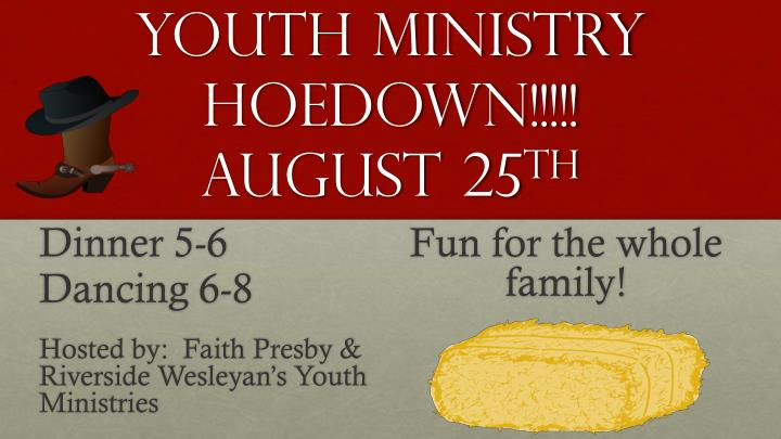 youth ministry hoedown august 25 th n.