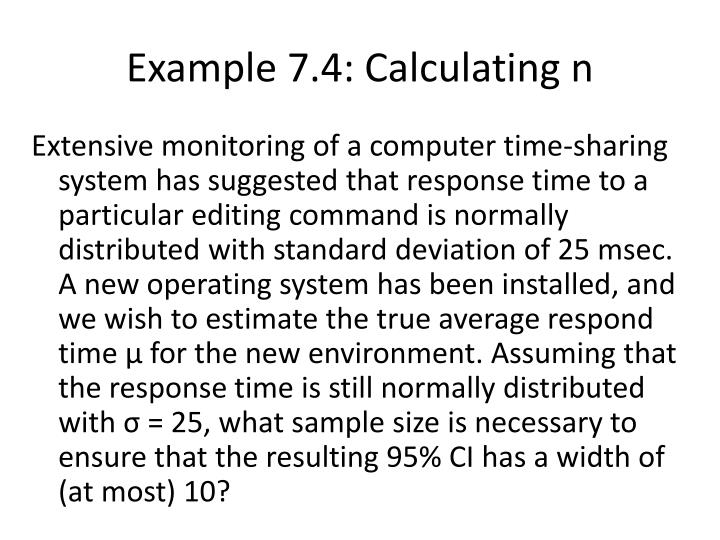 Example 7.4: Calculating n