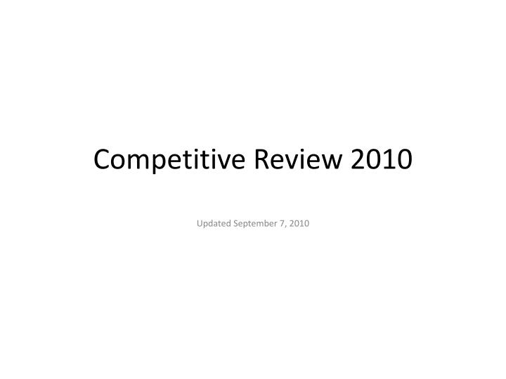 competitive review 2010 n.