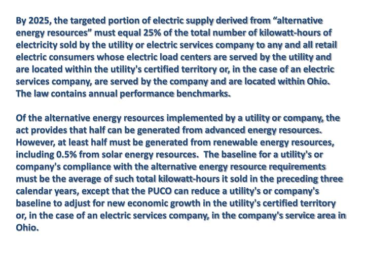 By 2025, the targeted portion of electric supply derived from