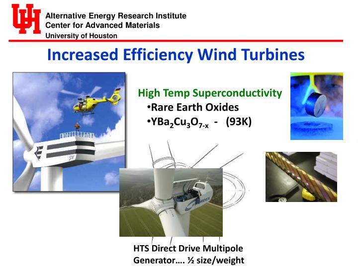 Increased Efficiency Wind Turbines