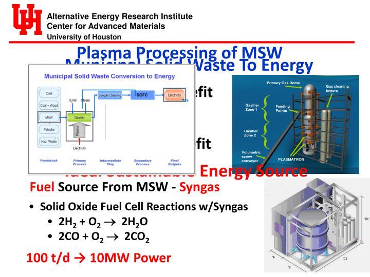 Plasma Processing of MSW