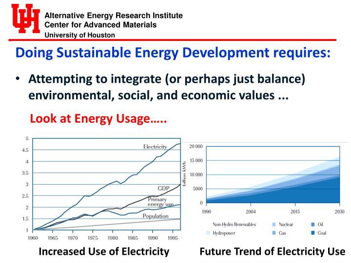 Doing Sustainable Energy Development requires: