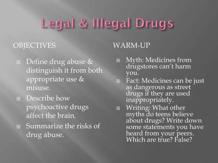abuse of legal and illegal drugs essay Drugs term papers (paper 12955) on why drugs should be banned: illegal drug abuse must be stopped it hurts our society, hurts us, and.