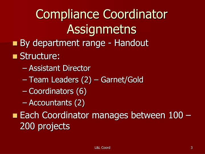 Compliance coordinator assignmetns