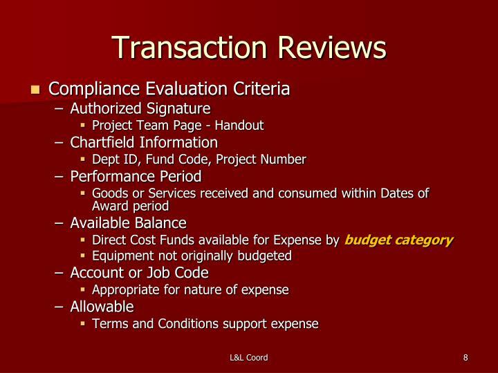 Transaction Reviews