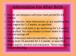 information for after birth