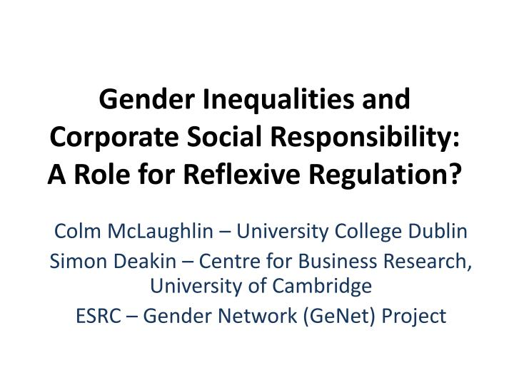 gender inequalities and corporate social responsibility a role for reflexive regulation n.