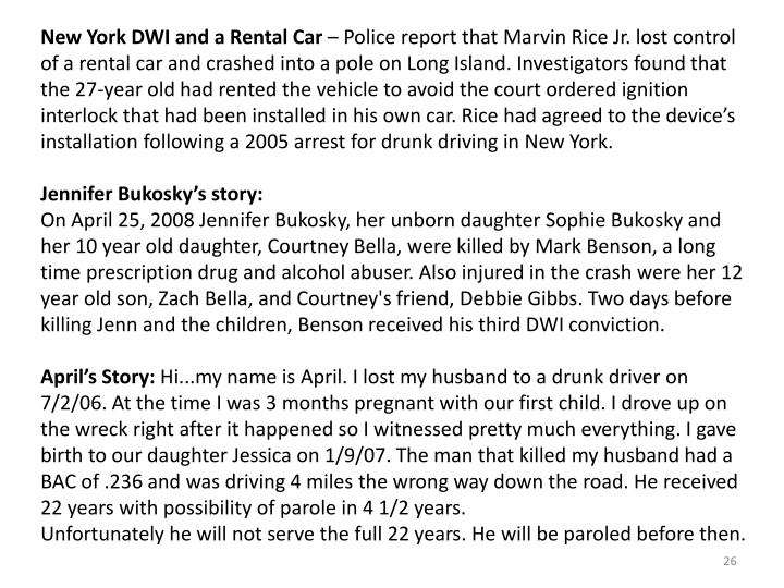 New York DWI and a Rental Car