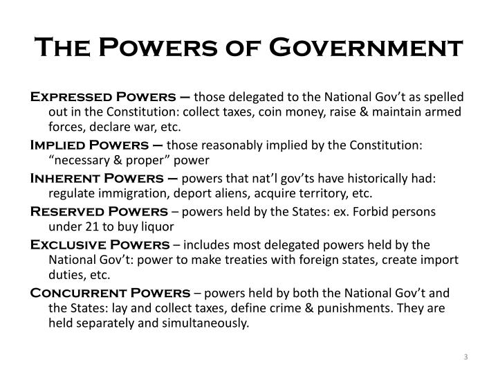 The powers of government1