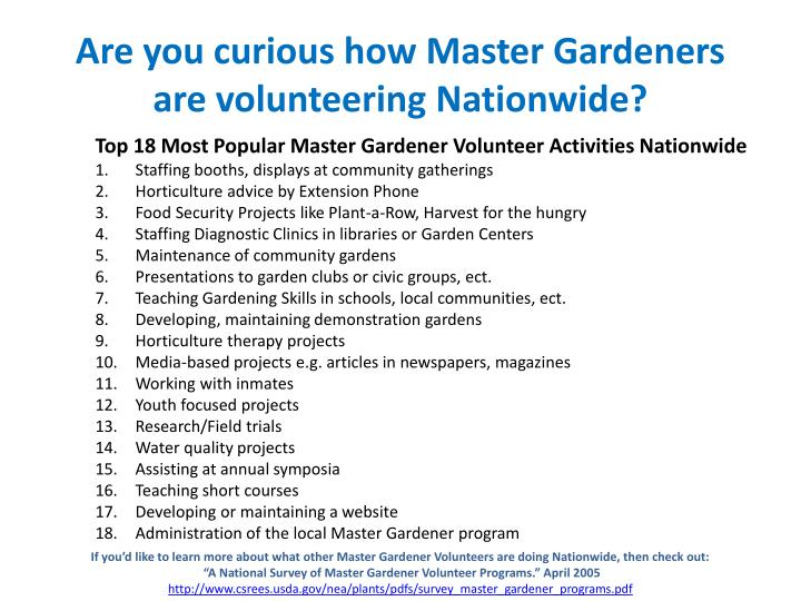 Are you curious how Master Gardeners are volunteering Nationwide?