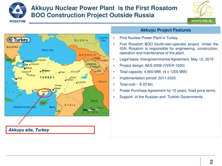 Akkuyu nuclear power plant is the first rosatom boo construction p roject o utside russia